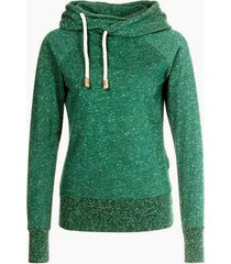 stylish hooded long sleeve snow pattern hoodie for women