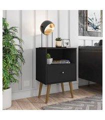 mesa de cabeceira 1 gaveta 1 nicho móveis bechara mb2014 preta