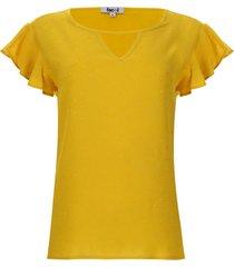 blusa unicolor con arandelas mujer color amarillo, talla s