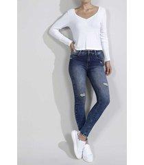 jean para mujer topmark, silueta poppy, tiro medio y cintura con pretina