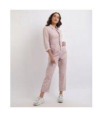 macacão de sarja feminino mindset manga longa com bolsos e elástico rosa claro