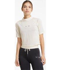 puma x first mile mock t-shirt dames, wit, maat xs