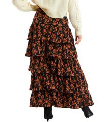 allison new york women's floral tiered maxi skirt