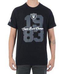 new era camiseta new era piquet raiders nfl preta - masculino