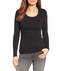 women's caslon long sleeve scoop neck cotton tee, size medium - black