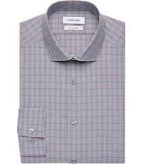 calvin klein gray and burgundy plaid slim fit dress shirt