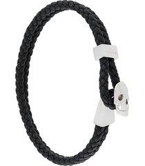 northskull micro skull leather braided bracelet - black