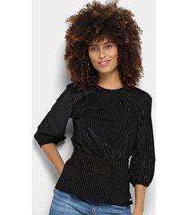 blusa colcci manga 3/4 veludo devorê plissada babado feminina