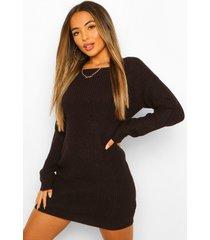 petite gebreide mini jurk met v-ruguitsnijding, black