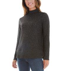 bcx juniors' button-shoulder fuzzy sweater