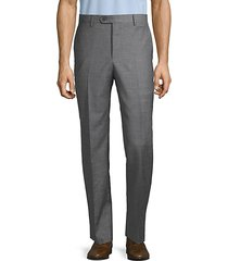 flat-front wool, silk & linen dress pants