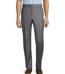 flat-front wool, silk & linen dress pants