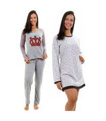 pijama isa lingerie 1 pijama + 1 camisola manga longa cinza