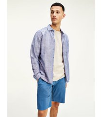 camisa de algodón y lino con logo azul tommy jeans