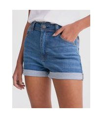 short jeans hot pants com barra dobrada | blue steel | azul | 42