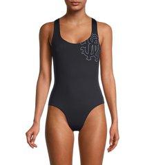 roberto cavalli women's logo one-piece swimsuit - black - size xs