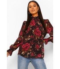 blouse met hoge kraag en print, black
