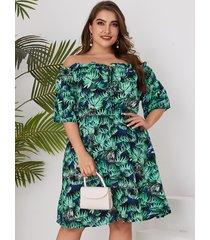 plus tamaño verde hojas aleatorias imprimir fuera del hombro vestido