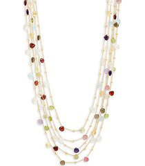 18k goldplated sterling silver & multi-stone five-strand necklace