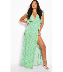floral print woven ruffle sleeve wrap maxi dress, green