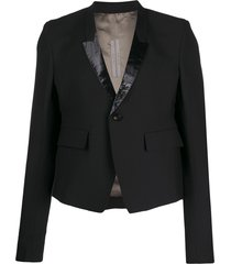 rick owens fitted patent detailed blazer - black