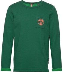 crew neck sweat with chest pocket and contrast loops sweat-shirt tröja grön scotch & soda