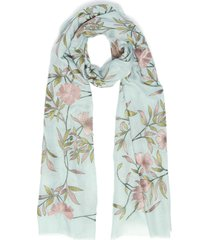 'jaal' floral embroidered cashmere scarf