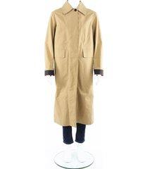 burberry bonded poplin single-breasted car coat men's beige sz: 40
