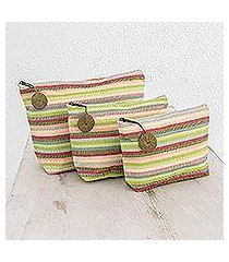 cotton cosmetic bags, 'strawberry lime' (set of 3) (guatemala)