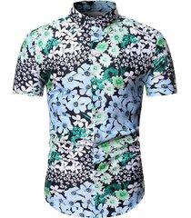 allover flower print button beach shirt