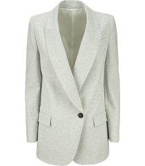 brunello cucinelli lightweight stretch cotton fleece jacket with monili