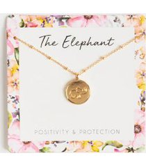 the elephant coin pendant necklace - peach