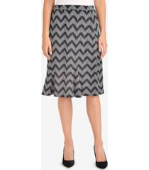 ny collection printed godet-pleat skirt