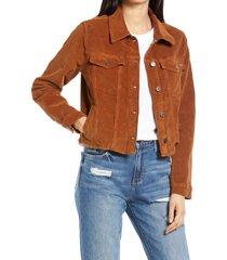 women's hidden jeans crop corduroy jacket, size large - brown