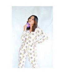 pijama adulto feminino longo aberto liganete estampado branco donuts