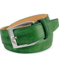 pakerson designer men's belts, men's green hand painted italian leather belt