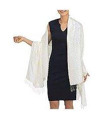 rayon and silk blend shawl, 'mandarin ivory' (thailand)