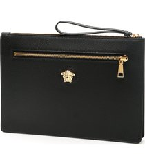 versace grain leather palazzo clutch
