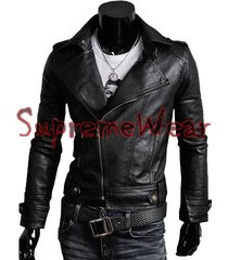 handmade new men brando style slim fit black leather jacket, leather jacket for