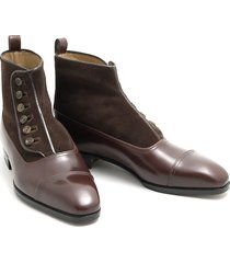 handmade dress leather cap toe button top brown formal leather shoes tuxedo boot