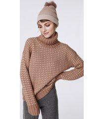 maglia treccia bicolor cashmere