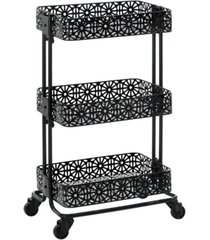 "linon home decor keswick 29"" three tier metal cart"