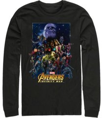 marvel men's avengers infinity war big face thanos poster, long sleeve t-shirt