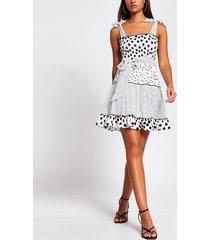 river island womens white polka dot shirred mini beach dress