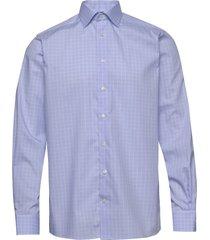 blue & white checked shirt overhemd business blauw eton