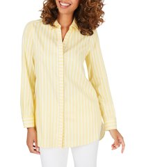 women's foxcroft vera stripe non iron tunic shirt, size 8 - yellow