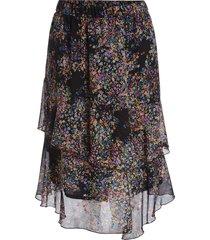 rok met bloemenprint marie  zwart