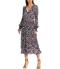 nemea print pleated midi dress