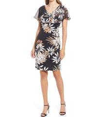 women's connected apparel floral cape dress, size 4 - black