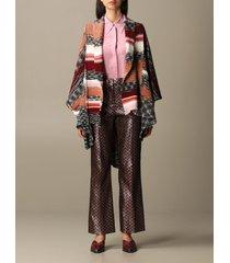 missoni scarf missoni poncho in multi-striped wool